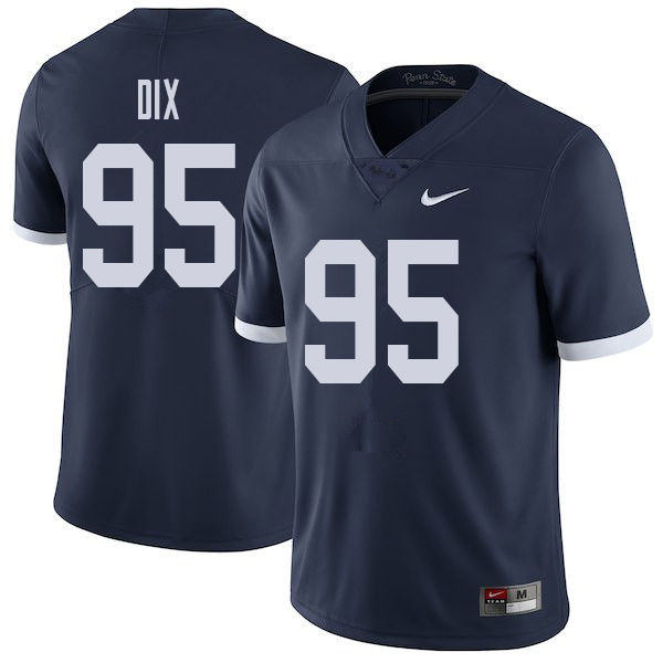 Men #95 Donnell Dix Penn State Nittany Lions College Throwback Football Jerseys Sale-Navy